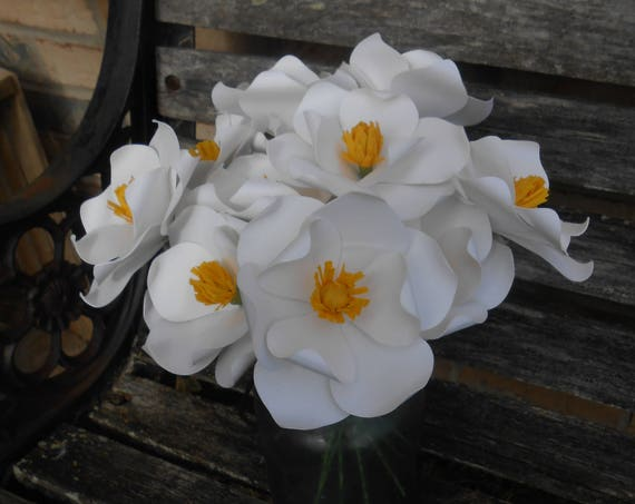 One Dozen White Magnolias.  Handmade Paper Flower Bouquet. Other Colors Available. Custom Orders Welcome.