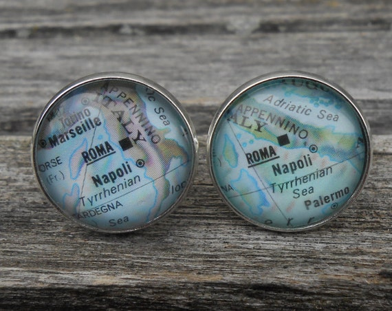 Vintage Map ROME, ITALY Cufflinks. Unique Gift, Wedding, Groom, Birthday, Custom Orders Welcome. Travel Wedding,