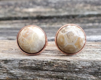 Wedding Petoskey Stone Cufflinks Christmas Gift Fossilized Coral Gift For Dad. Groomsmen Gift