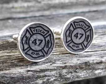 Dad Groomsmen Fire. Laser Engraved Firefighter Maltese Cross Cufflinks Groom Wedding Men Christmas Gift