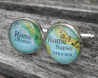 Italy Cufflinks Cuff Links Vintage Italian Silver Liras Rome Naples Roman