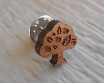 Cabbage Stylish Cherry Wood Tie Tack Engraved Tie Tack Gift 12Mm Simple Tie Clip with Laser Engraved Design