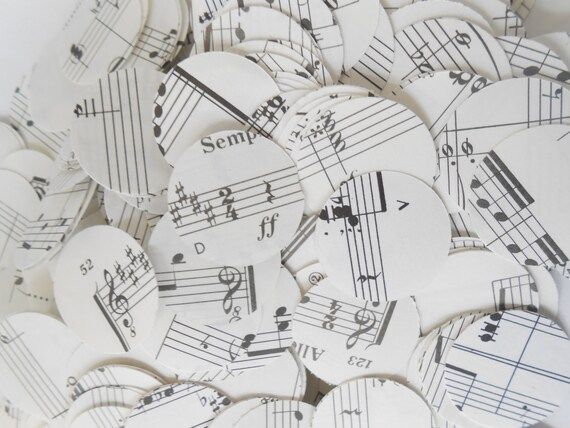 1000 Vintage SHEET MUSIC Confetti, 1 inch. Custom Orders Welcome. Hearts or Circles.