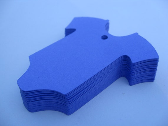 50 ONESIE Tags. 6 inch. Cornflower Blue. Or Your CHOICE of COLORS. Custom Orders Welcome. Showers, Gifts.