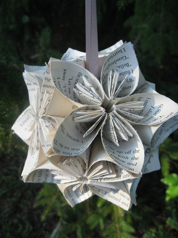 Upcycled BOOK Kusudama Ball.  6 Inch Origami Ball.  Room Decor, Wedding Decor. Unique Gift.