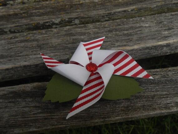 Pinwheel Hair Piece. CHOOSE YOUR COLORS. Wedding Hair Accessory, Bridal Hair Piece, Bridesmaid. Red White Stripe, Polkadot
