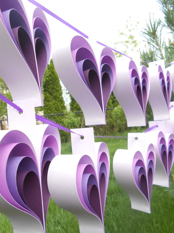 TWO Garlands Of PURPLE HEARTS. 10 Hearts. Wedding, Shower Decoration, Home Decor. Custom Orders Welcome. Any Color Available.