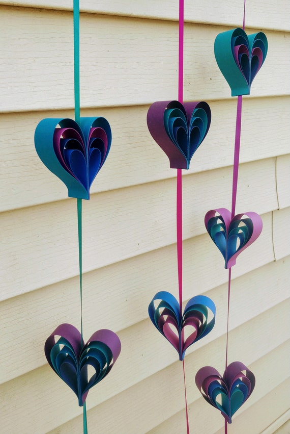 Heart Garlands. Wedding Decorations, Shower, Home. CHOOSE YOUR COLORS.