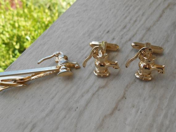 Vintage Pump Cufflinks & Tie Clip. Moving Parts!!! Christmas, Wedding, Men's, Groomsmen Gift, Dad.