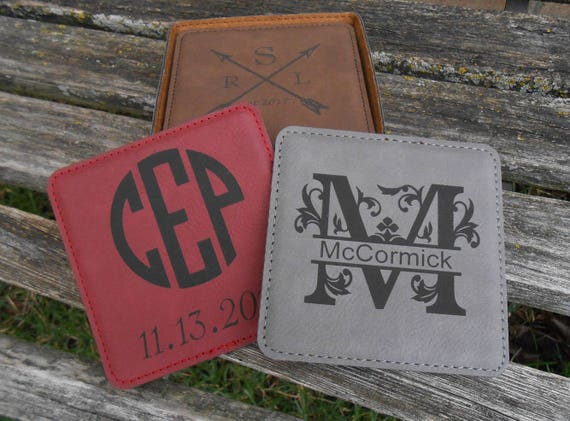 Personalized Coasters. CHOOSE YOUR DESIGN. Groomsmen Gift, Groom, Christmas, Anniversary, Favor, His Hers, Bride Groom. Leather.