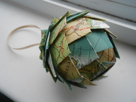 Vintage Map Paper Ball Ornament. Decoration, Christmas, Gift, Birthday, Anniversary, Wedding. Ornaments