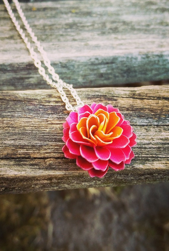 Dahlia Paper Flower Necklace. CHOOSE YOUR COLOR!  Wedding, Bridesmaid Gift, Birthday, Gift, Women, First Anniversary