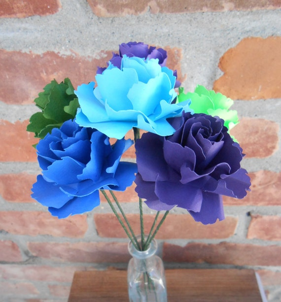 6 Peacock Wild Roses. Wedding, Paper Flower Bouquet. First Anniversary.