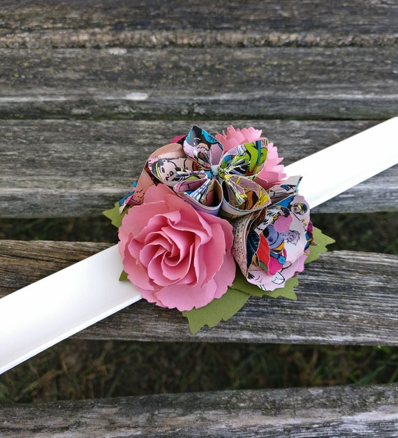 Slap Bracelet Comic Corsage And/Or Boutonniere. Your Choice Of Comics & Colors. Wedding, Bridesmaid, Flower Girl, Prom, Homecoming