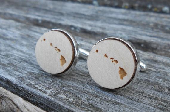 Wood STATE Cufflinks. HAWAII. Laser Engraved. Wedding, Men's, Groomsmen Gift, Dad. Custom Orders Welcome. Oahu, Honolulu