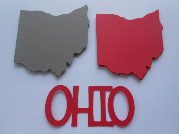 50 OHIO State Shapes. CHOOSE Your COLORS. 3 inch. Escort Cards, Place Tags, Gift Tags, Wishing Tree.