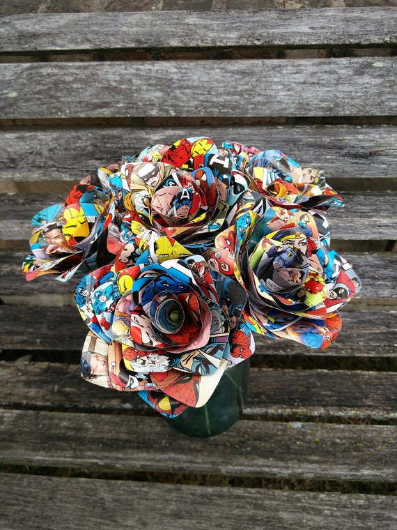 6 Comic Book Roses.  Wedding, Birthday, Anniversary, Centerpiece. Gift. Custom Orders Welcome