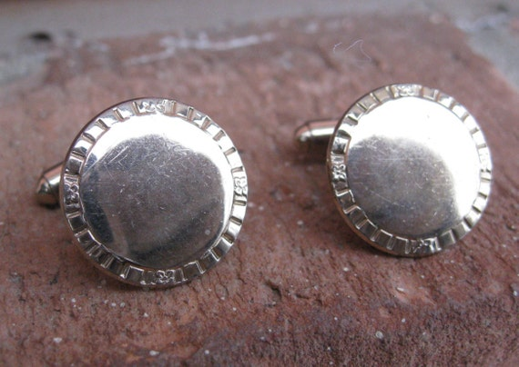 Vintage Cufflinks, With Decorative Edge.  Wedding, Men's Christmas Gift, Dad.