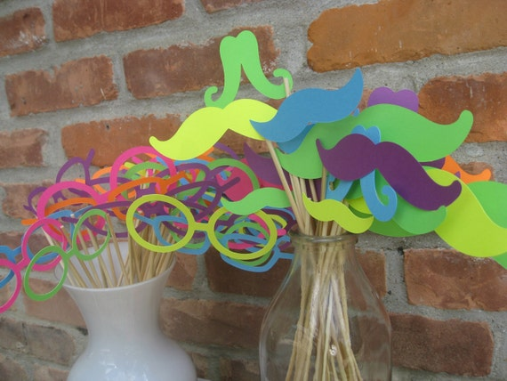 NEON Paper Mustache & Glasses Party Favors. Photo Prop. 75 Pieces. ANY COLOR Available. Custom Orders Welcome.