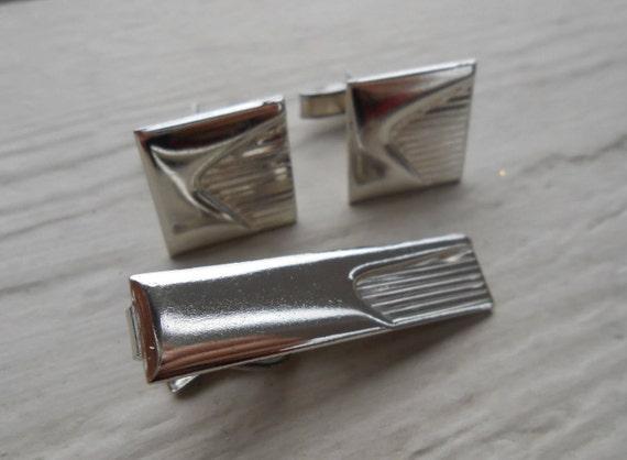 Vintage Silver Abstract Cufflinks & Tie Clip. Wedding, Men's, Groomsmen Gift, Dad.