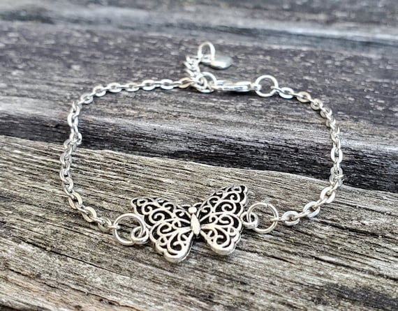 Butterfly Bracelet. Anniversary Gift, Birthday Gift, Gift For Mom, Kids Gift. Filigree Butterfly