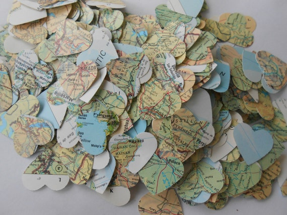 1000 Vintage Map Confetti. Green, Blue, Yellow, Orange. World Map. Or CHOOSE YOUR MAP. Heart Shaped. Custom Orders Welcome.