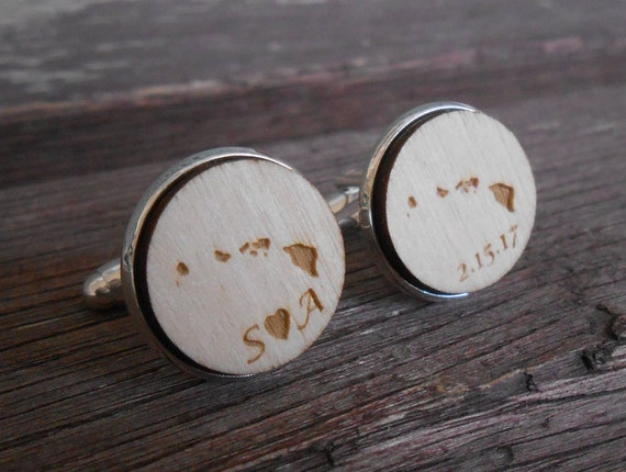 Personalized State Cufflinks, Monogram, Wedding Date.  Anniversary, Groom Gift, Groomsmen, Dad, 5th. Letter, Initials, Hawaii