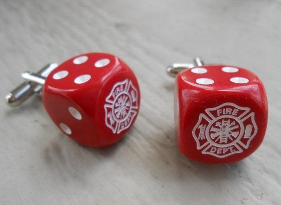FIREFIGHTER Dice Cufflinks. Maltese Cross. Wedding, Men, Groomsmen Gift, Valentine, Groom, Father, Dad. Fireman Gift, Christmas. Red