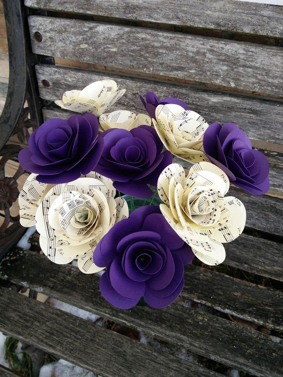 Dozen Paper Roses. CHOOSE YOUR COLORS. Wedding Bouquet, Mother's Day Gift, First Anniversary. Valentine's Day