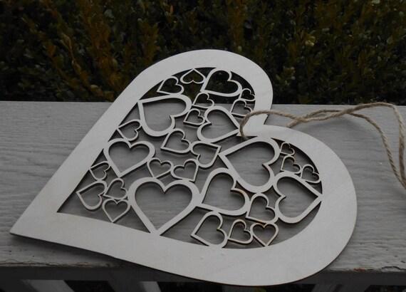 Heart Door Hanger. 9 Inch. Large Laser Cut Wood. Kids, Valentine Decoration, Gift. Mom, Dad.
