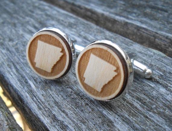 Wood STATE Cufflinks. ARKANSAS. Laser Engraved. Wedding, Men's, Groomsmen Gift, Dad. Anniversary, Birthday.