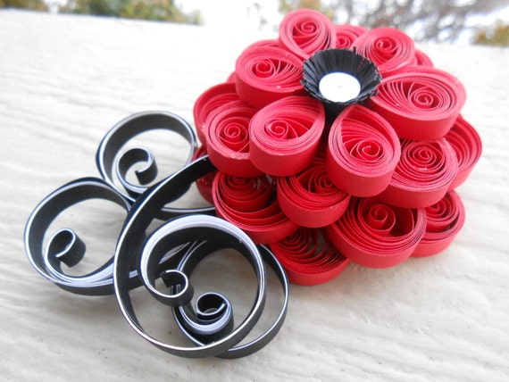 Paper Flower Hair Piece. CHOOSE YOUR COLORS! Wedding, Bridal, Bridesmaid, Prom. Custom Orders Welcome. Quilled Flowers.