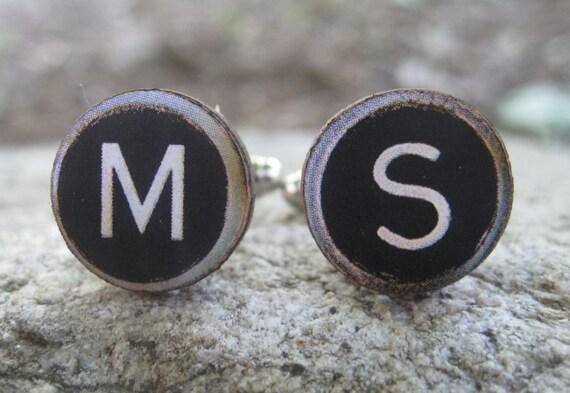 Typewriter KEY Cufflinks, CHOOSE Your LETTERS. Wood. Wedding, Groomsmen Gift, Dad. Custom Orders Welcome.