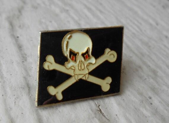 Vintage Jolly Roger Vampire Lapel Pin. Skull & Crossbones.  Dad, Groomsmen Gift, Birthday.
