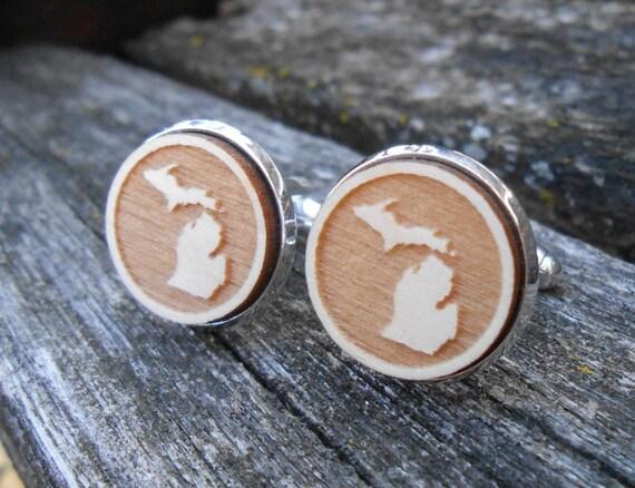 Wood STATE Cufflinks. Michigan. Laser Engraved. Wedding, Men's, Groomsmen Gift, Dad. Custom Orders Welcome. Wolverines.
