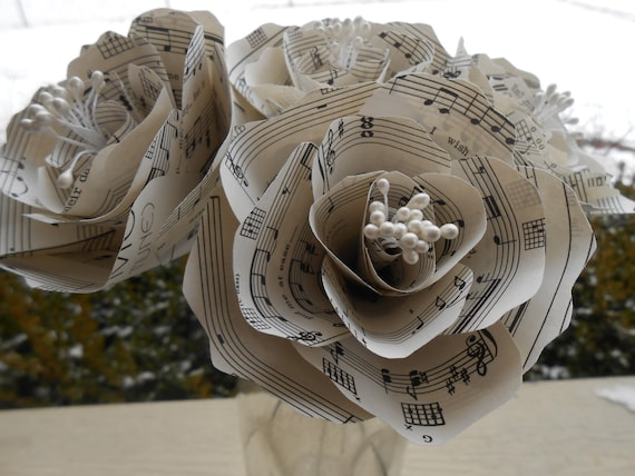Sheet Music Peonies. Half Dozen. Perfect for First Anniversary, Weddings, Birthdays. Unique Gift. CUSTOM Orders Welcome