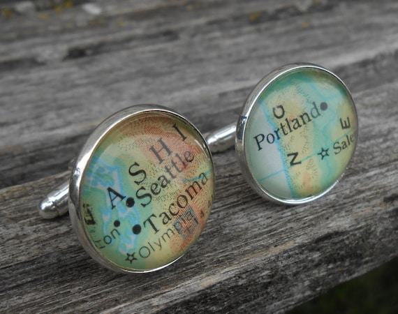 Vintage Map Cufflinks. Choose Your Places! Unique Gift, Wedding, Groom, Birthday. Seattle, Portland