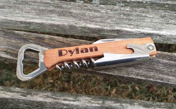 Customized Bottle Opener, Knife, Corkscrew. Laser Engraved Wood. Wedding, Men, Groomsmen Gift, Dad, Birthday, Anniversary. Groom, Beer, Wine