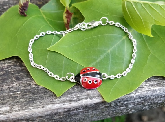 Ladybug Bracelet. Anniversary Gift, Birthday Gift, Bug Bracelet. Ladybug Jewelry. Gift For Mom