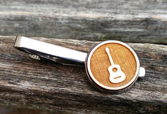 Guitar Tie Clip.  Laser Engraved. Wedding, Men, Groom, Steampunk, Groomsmen Gift, Dad, Musician. Tie Bar, Tie Tack. Banjo.
