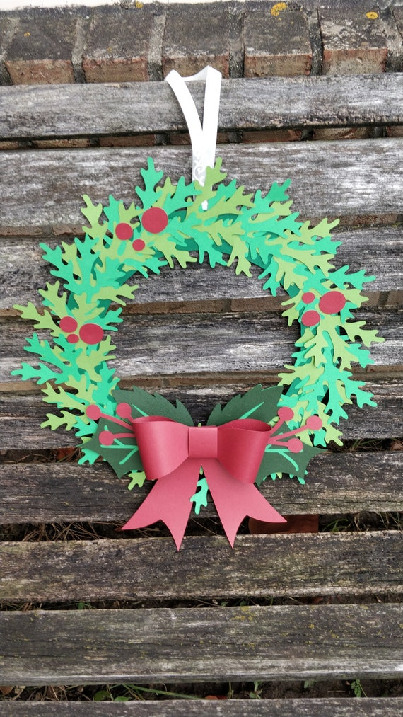 Holly Wreath,  Paper Christmas Wreath. 12 inch. Door Decor. Christmas Ornament