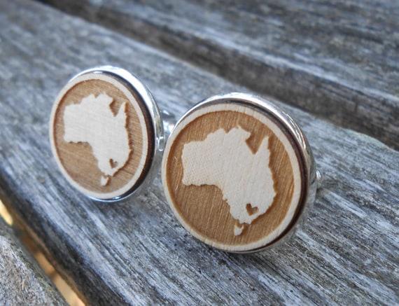 I LOVE Australia Wood Cufflinks. Laser Engraved. Wedding, Men's, Groomsmen Gift, Dad. Custom Orders Welcome. Map, Country