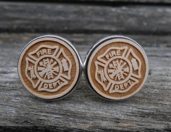 Firefighter Maltese Cross Cufflinks. Laser Engraved. Wedding, Men's Christmas Gift, Dad. Silver Plated. Custom Orders Welcome.