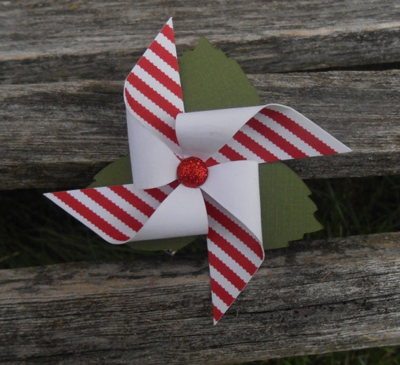 Pinwheel Hair Piece. CHOOSE YOUR COLORS. Wedding Hair Accessory, Bridal Hair Piece, Bridesmaid. Red White Stripe, Polkadot