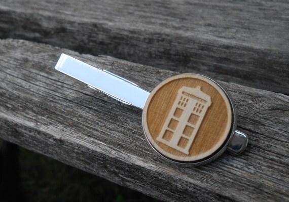 Police Box Tie Clip.  Laser Engraved. Wedding, Men, Groom, Steampunk, Groomsmen Gift, Dad. Custom Orders Welcome.  Tie Bar, Tie Tack