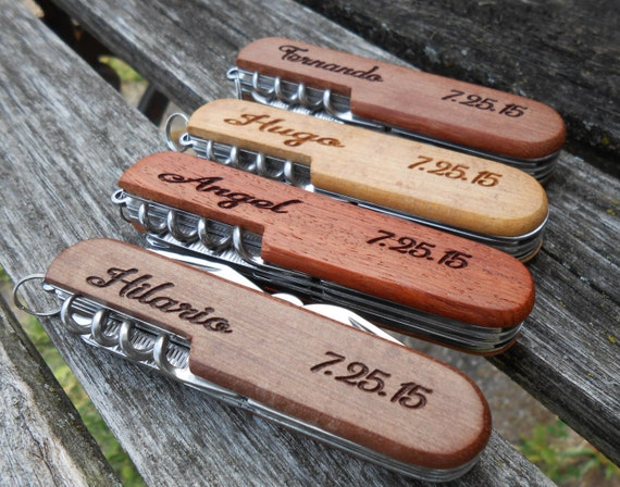 Custom Pocket Knife, Laser Engraved Wood. Wedding, Men, Groomsmen Gift, Dad, Anniversary. Knives.
