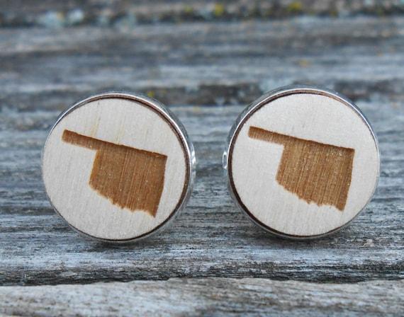 Wood STATE Cufflinks. OKLAHOMA. Laser Engraved. Wedding, Men's, Groomsmen Gift, Dad. Custom Orders Welcome. Tulsa