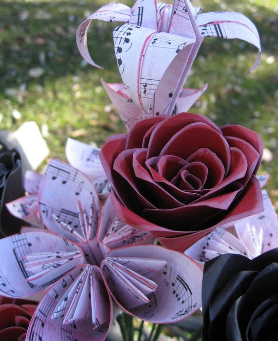 Sheet Music Paper Flower Bouquet. Red, White, and Black. Valentine's, Anniversary, Wedding, Centerpiece, Bridal. CUSTOM ORDERS WELCOME.