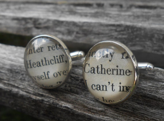Wuthering Heights Heathcliff & Catherine Cufflinks. Groom Gift, Wedding, Men's Christmas Gift, Dad. Silver Plated.
