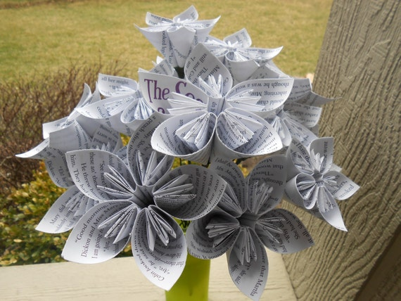 Secret Garden Paper Flower Bouquet, Origami Paper Flowers. Upcycled. Gift For Mom, Anniversary, Birthday.